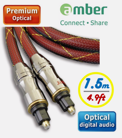 AMBER AT215 PREMIUM AUDIO CABLE, DIGITAL S/PDIF OPTICAL AUDIO CABLE, TOSLINK TO