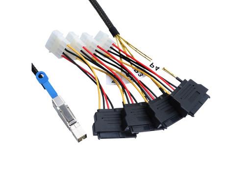 100CM MiniSAS HD To 4xSAS29F With 4 x Molex Power