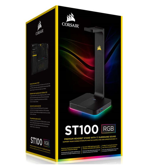 Corsair Gaming ST100 RGB - Headset Stand with 7.1 Surround Sound. Built in 3.5mm analog input. Dual USB 3.1 ports.