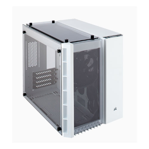 Corsair Crystal Series 280X Tempered Glass Micro-ATX Case, White – NO PSU