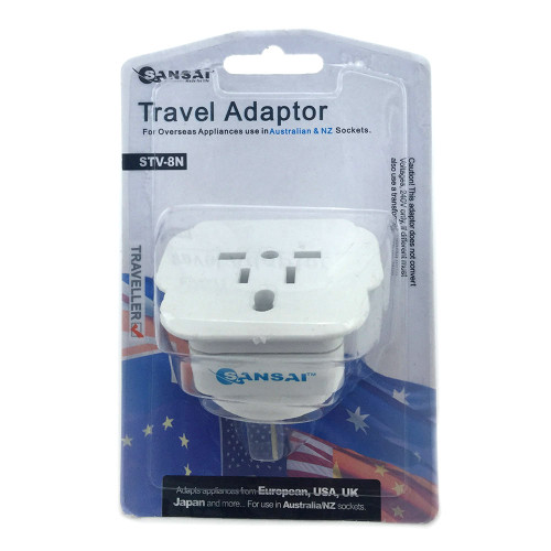 Sansai Travel Adapter for 240V Equipment from Britain/ USA/ Europe/ Ja