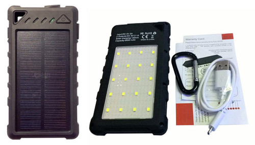 Rugged Solar Power Bank 8000 mAh with 20 LED Lights 5W  St