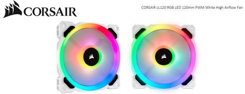 Corsair Light Loop Series, White LL120 RGB, 120mm PWM Fan, Single Pack
