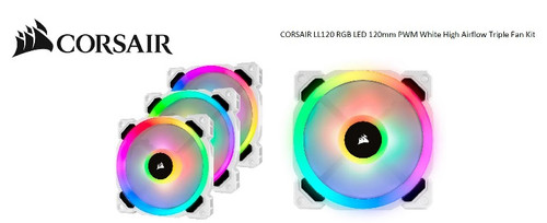Corsair Light Loop Series, White LL120 RGB, 120mm PWM Fan, 3 Fan Pack