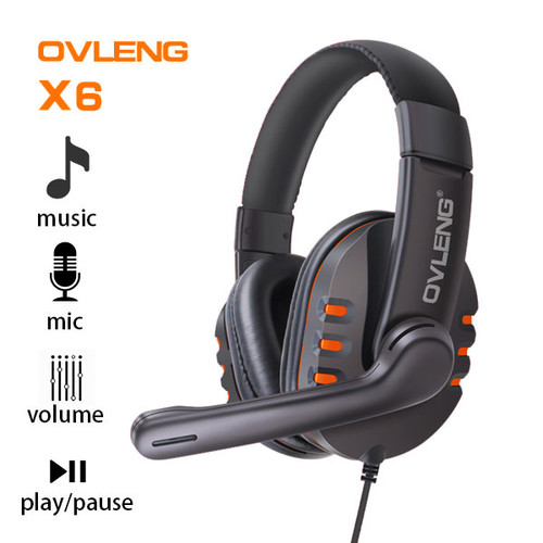 Ovleng X6 Wired Stereo Headphone with Microphone for Computer Games Orange