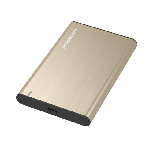 Simplecom SE221 Aluminium 2.5'' SATA HDD/SSD to USB 3.1 Enclosure Gold