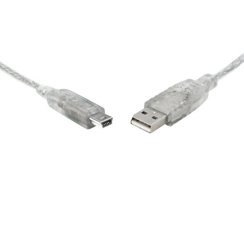 8Ware USB 2.0 Cable 3m A to B 5-pin Mini Transparent Metal Sheath UL A