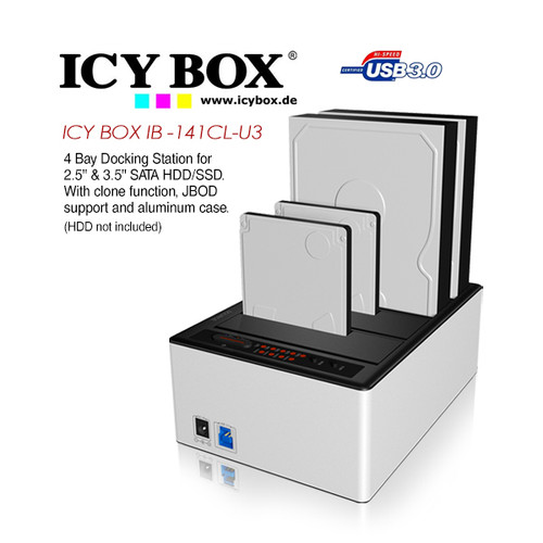 ICY BOX 4 bay JBOD docking and cloning station with USB 3.0 for SATA