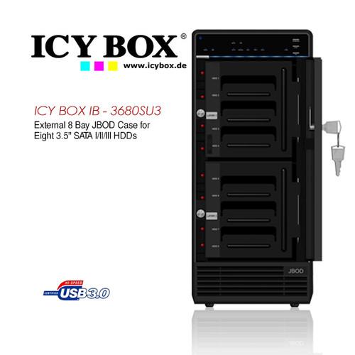 "ICY BOX External 8x JBOD enclosure for 8x 3.5"" SATA I/II/III HDDs"