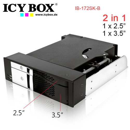 """ICY BOX Trayless module for 1x 2.5"""" and 1x 3.5"""" SATA HDDs in 1x 5.25"""""""
