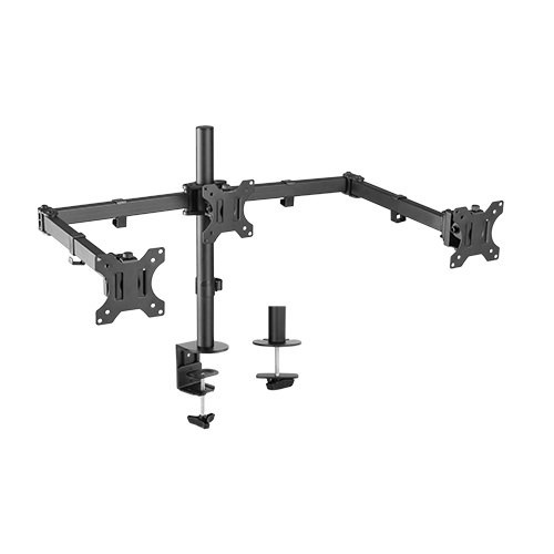 Brateck Triple Screens Economical Double Joint Articulating Steel Moni