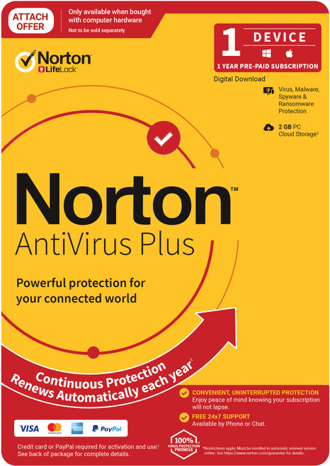Norton Anti Virus Plus, 2GB, 1 User, 1 Devices, 12 Months, PC, MAC, An