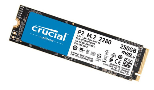 Crucial P2 250GB M.2 (2280) NVMe PCIe SSD - QLC NAND 2100/1150MB/s 150TBW 1.5mil hrs MTTF SMART & TRIM Acronis True Image Cloning Software 5yrs wty