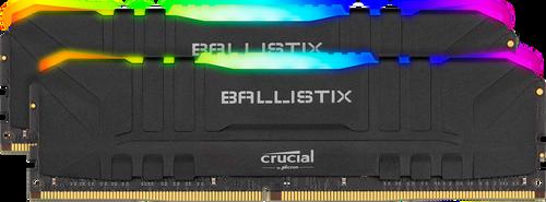 Crucial Ballistix RGB 16GB (2x8GB) DDR4 UDIMM 3200MHz CL16 Black Aluminum Heat Spreader Intel XMP2.0 AMD Ryzen Desktop PC Gaming Memory