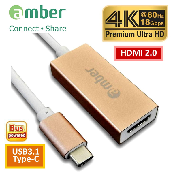 Amber CU3-AH12 USB3.1 Type-C to HDMI 2.0, Premium 4K @60Hz, High-class Aluminum Case, ROSE GOLD