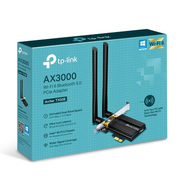 TP-Link Archer TX50E AX3000 Wi-Fi 6 Bluetooth 5.0 PCIe Adapter LAN 802.11bgn 5 GHz 2402Mbps Bluetooth 5.0 (WIFI6)