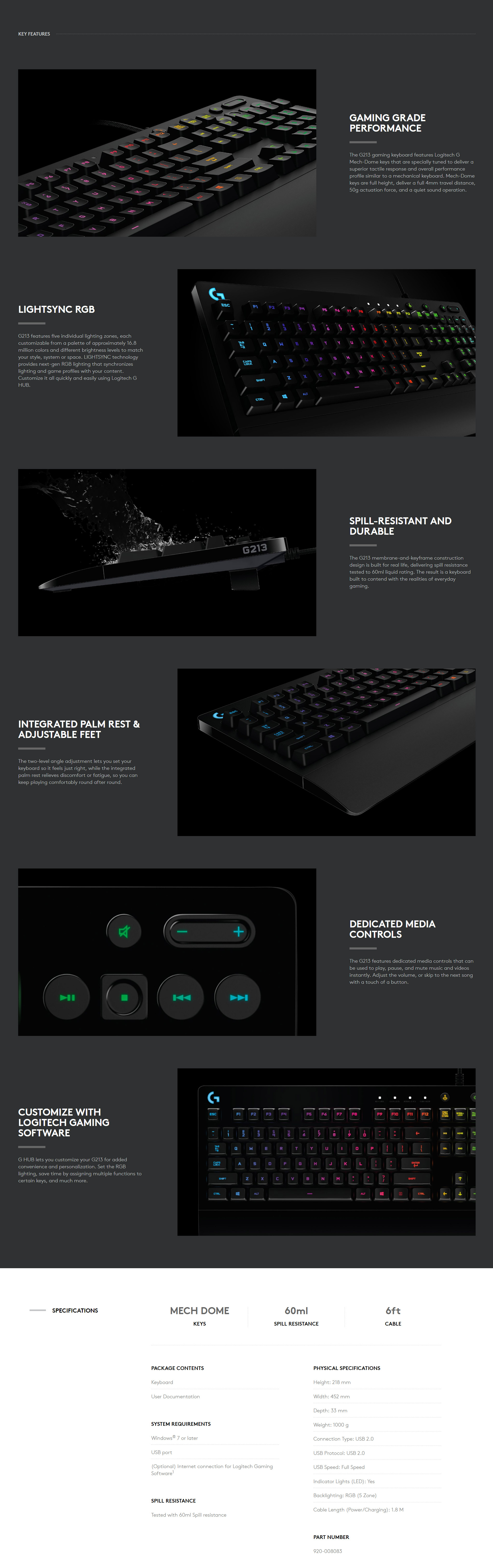 Logitech G213 Prodigy Gaming Keyboard Sb Technology