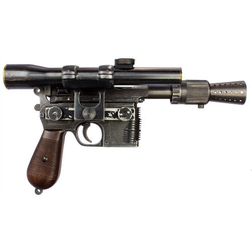 Han Solo DL44 blaster replica, battle worn finish, with complete Hensoldt-Wetzlar scope replica.
