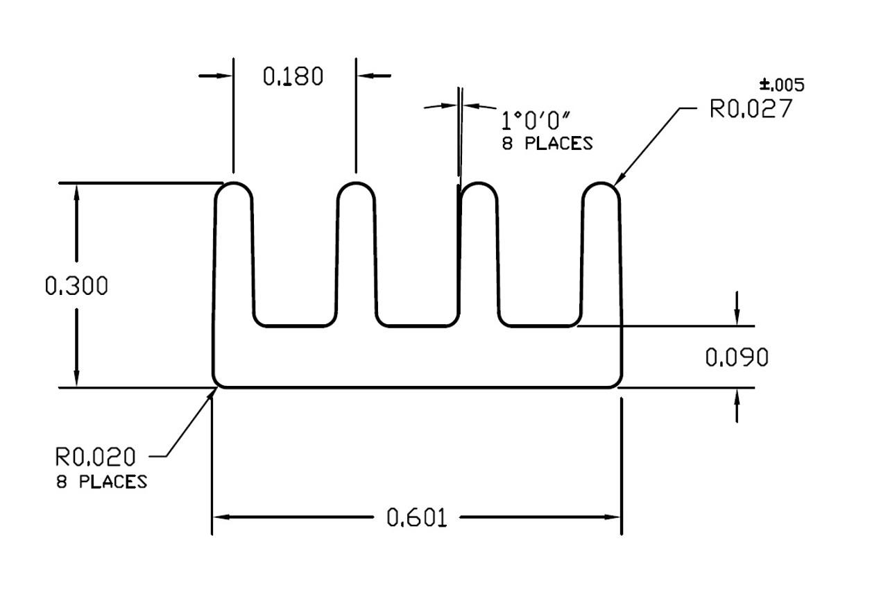 "0.601"" Wide Extruded Aluminum Heatsink"