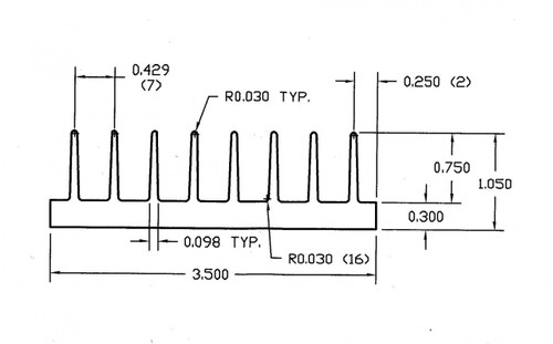 "3.500"" Wide Extruded Aluminum Heatsink"