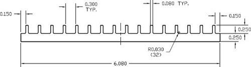 "6.080"" Wide Extruded Aluminum Heatsink"