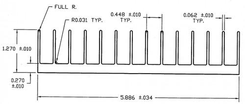 "5.886"" Wide Extruded Aluminum Heatsink"