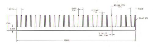 "10.000"" Wide Extruded Aluminum Heatsink"
