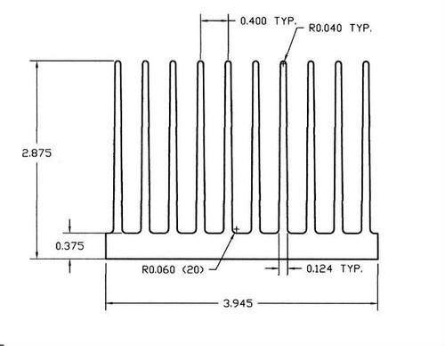 "3.945"" Wide Extruded Aluminum Heatsink"