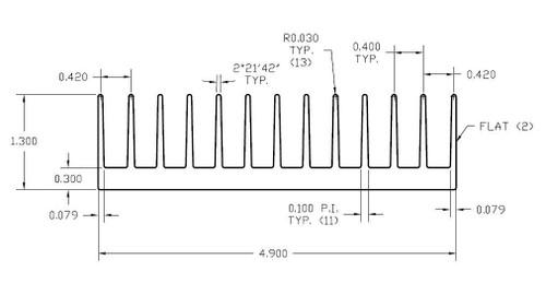 "4.900"" Wide Extruded Aluminum Heatsink"