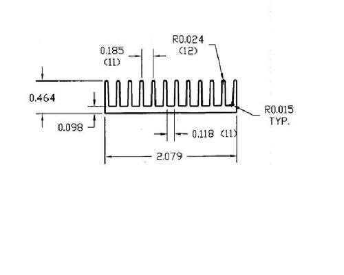"2.079"" Wide Extruded Aluminum Heatsink"