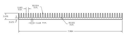 "7.984"" Wide Extruded Aluminum Heatsink"