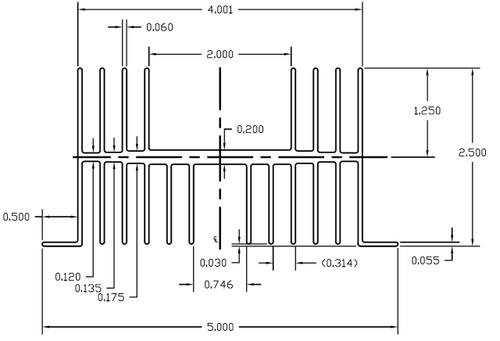 "5.000"" Wide Extruded Aluminum Heatsink (for SSR's)"