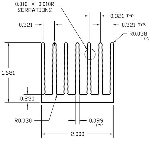 "2.000"" Wide SERRATED FIN Extruded Aluminum Heatsink"