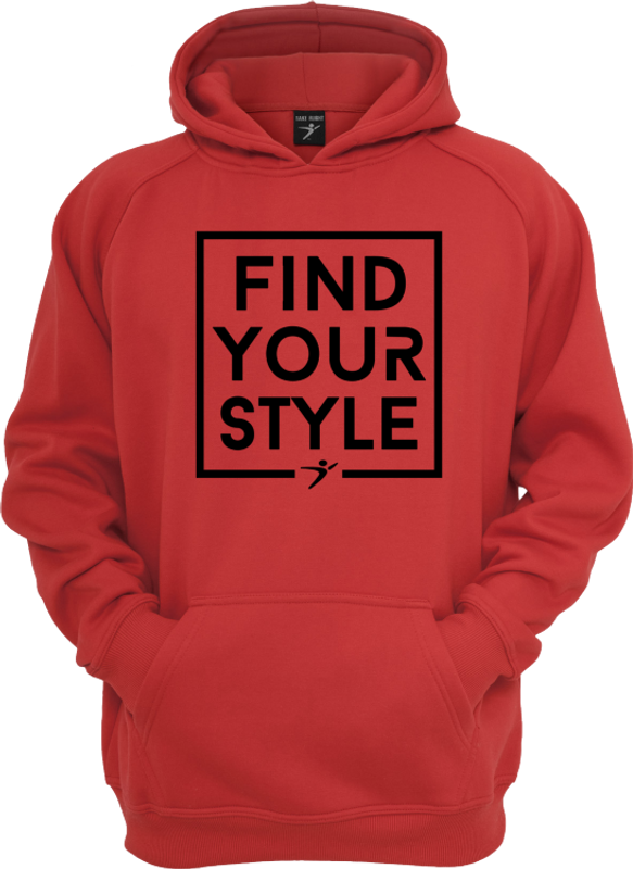 f18c87ccb47fb8 The Find Your Style Hoodie in our cardinal version with a black print.