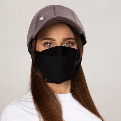 Premium zwart modieus · Herbruikbaar · 2-laags mondmasker - Ribcap