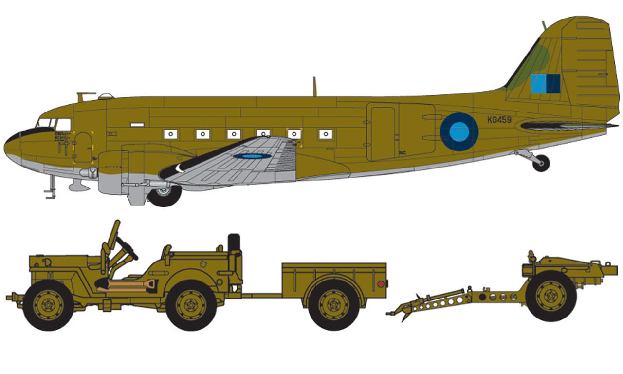Airfix A09008 Douglas Dakota MkIII with Willys Jeep 1:72 Scale Model Kit