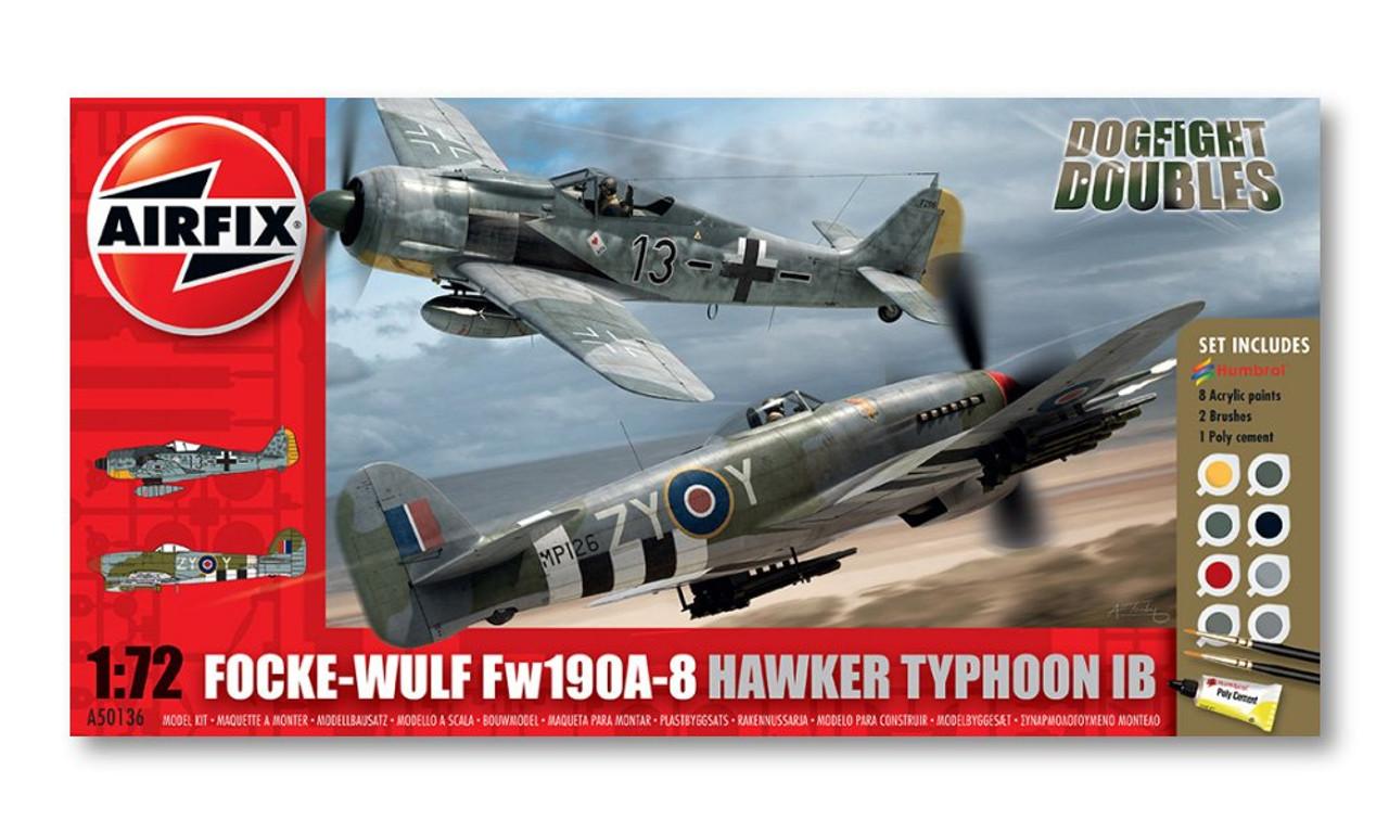 Airfix Focke Wulf Fw190A-8 Hawker Typhoon Ib Dogfight Doubles 1:72 Scale Model Kit (A50136)
