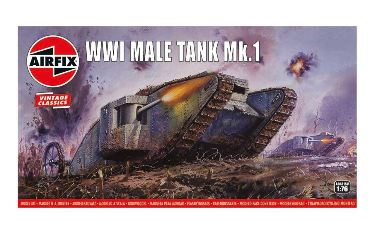 Airfix A01315V Airfix Vintage Classics - WWI Male Tank Mk.I 1:76 Scale