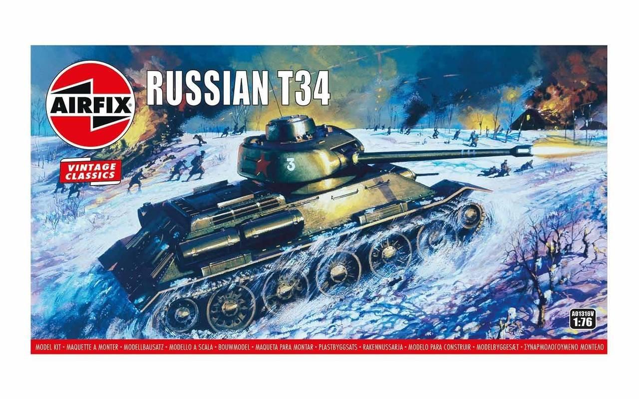 Airfix A01316V Airfix Vintage Classics - Russian T34 Medium Tank 1:76 Scale Model Kit