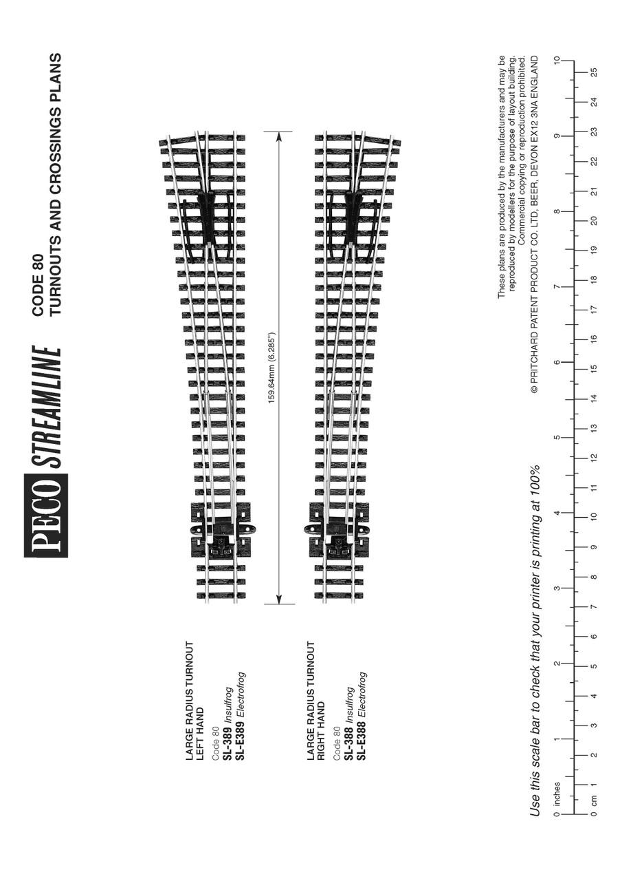 Peco SL-E389 Track Code 60 Large radius L/H Electrofrog