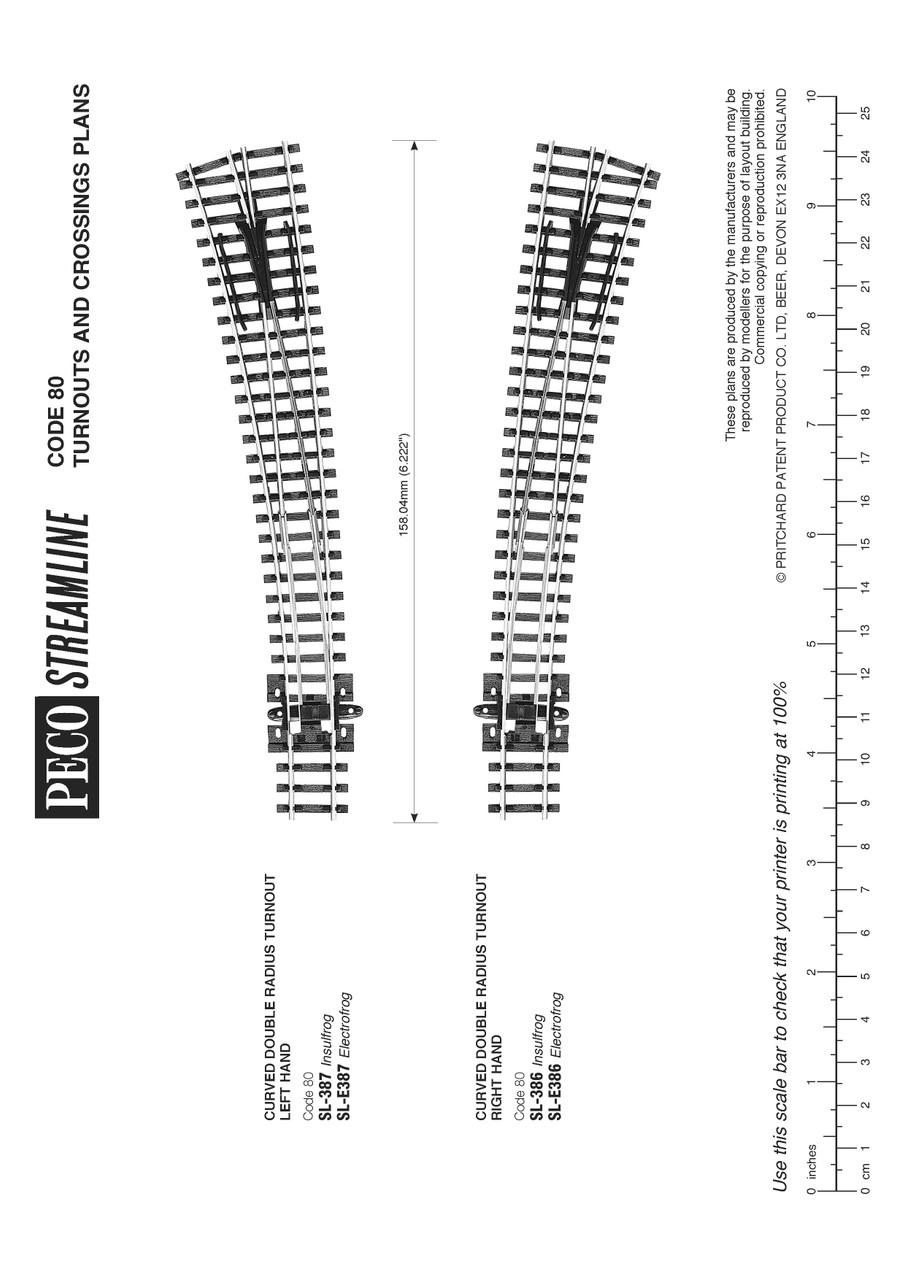 Peco SL-E386 Track Code 60 Curved double radius R/