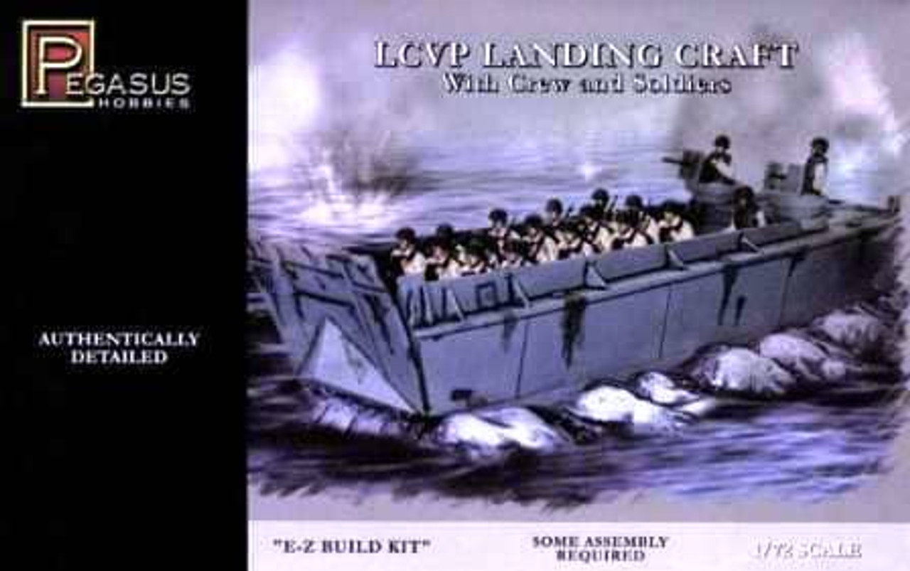 Pegasus Hobbies 7650 LCVP Landing Craft With Crew & Soliders 1:72 Scale Model Kit