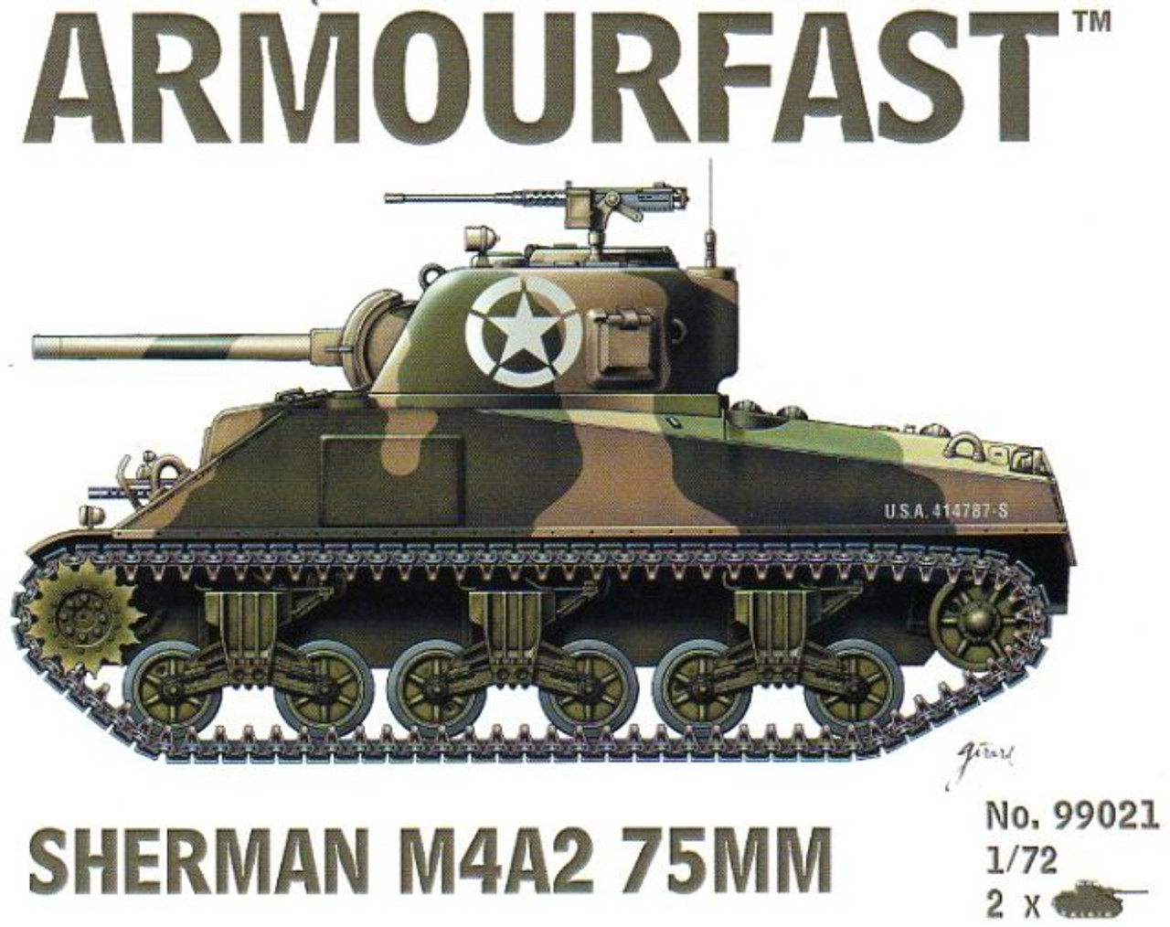 Armourfast 99021 Sherman M4A2 75mm 1/72 Scale