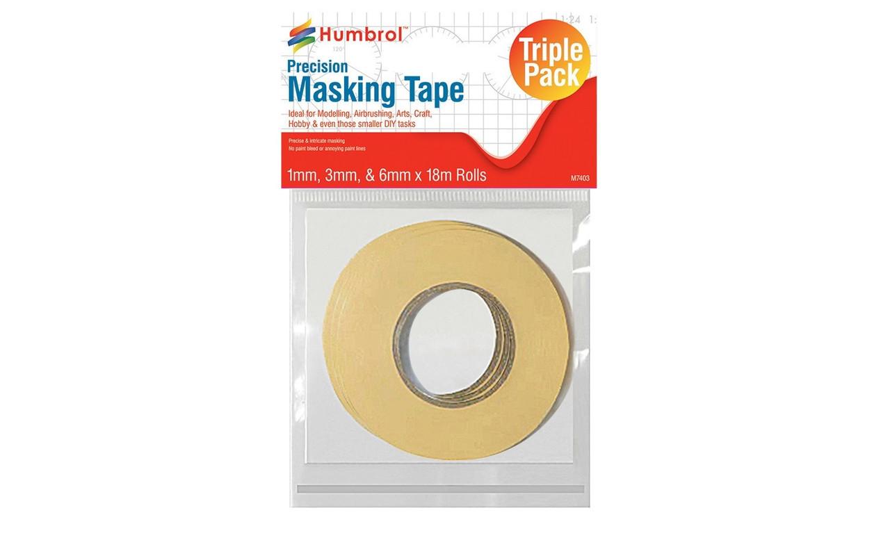 AG5110 Humbrol Precision Masking Tape Triple Pack Set1mm, 3mm & 6mm x 18m rolls
