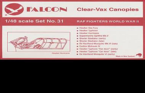 Falcon Clearvax Canopy Set No.31: RAF Fighters, World War II Accessories 1:48