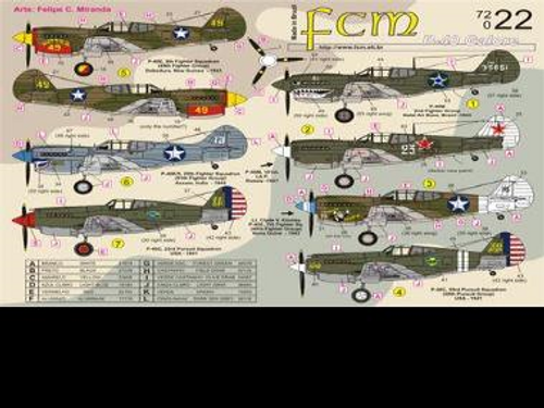 FCM P-40 Galore - P-40C x2, P-40E x3, P-40M x1 and P-40K x1 Decals 1:72