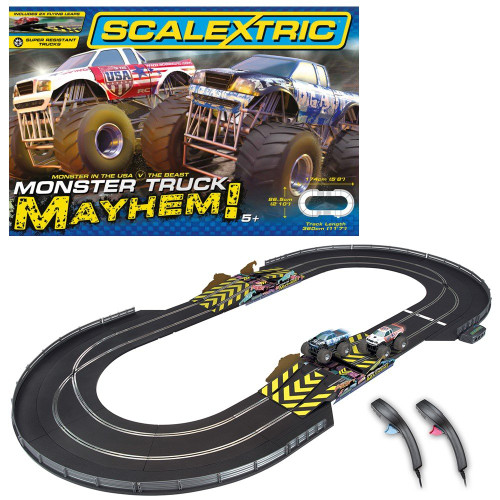 Scalextric C1302 Monster Truck Mayhem Slot Car Race Ready Set