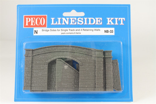 Peco NB-33 Lineside Kits Road Bridge Sides, stone