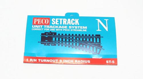 Peco ST-5 Track Code 80 No.1 Radius, R/H Turnout,