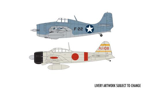 Airfix A50184 1:72 Grumman F-4F Wildcat and Mitsubishi Zero Dogfight Double